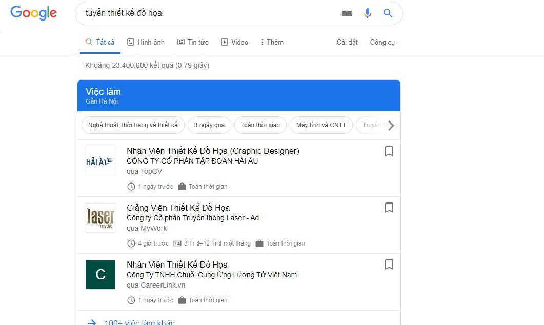 Lượt tìm kiếm từ khóa tuyển thiết kế đồ họa.